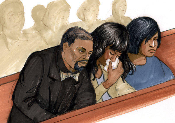 Courtroom sketch shows actress/singer Jennifer Hudson, center, reacting with her fiance David Otunga, left, and her sister Julia Hudson during the trial of William Balfour.