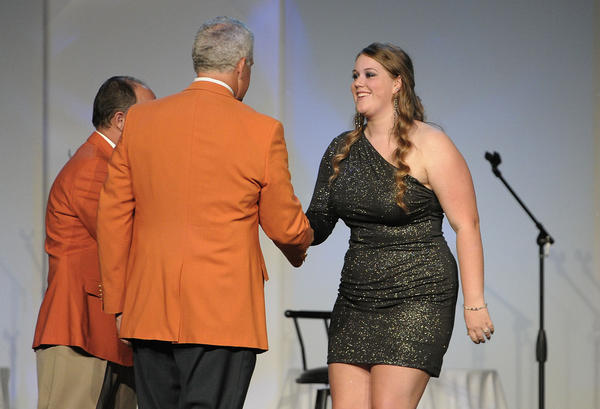 Allison Reddish, of West Broward High School is recognized as a Scholar Recipient during the Orange Bowl Impact and Excellence awards ceremony.