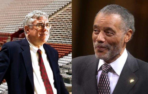 Monday's vote could be significant in the history of the storied Coliseum, which was built as a World War I memorial and paid off by taxpayers. Coliseum interim general manager John Sandbrook, left, in a 2011 photo, and City Councilman Bernard C. Parks, right.