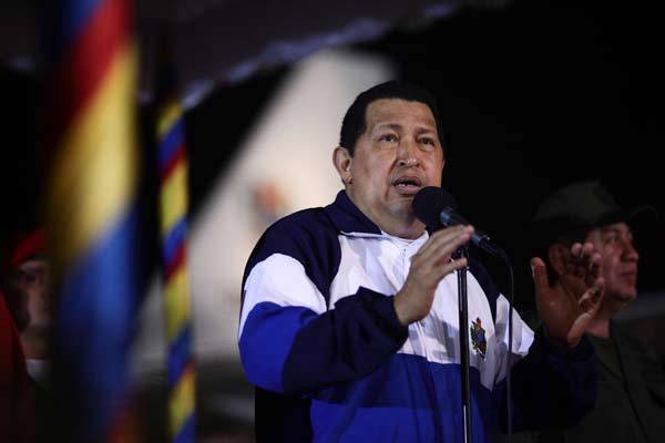 Venezuelan President Hugo Chavez speaks after arriving from Cuba at Simon Bolivar airport.