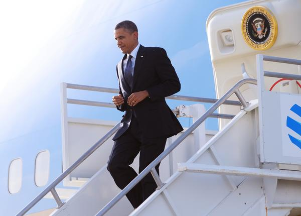 US President Barack Obama steps off Air Force One May 10, 2012 upon arrival at Los Angeles International Airport in Los Angeles. Obama is in Los Angeles to attend a campaign fundraiser at the residence of actor George Clooney.