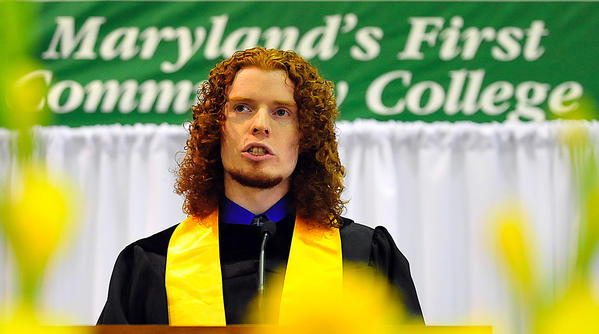 High Honors graduate, Brandon Bishop, delivers remarks Saturday during Hagerstown Community College commencement.