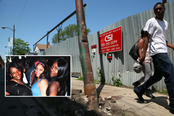 A utility pole is almost torn out of the sidewalk near Lake Street and Cicero Avenue Sunday, where four women were killed in an auto accident under the CTA Green Line elevated tracks. Iesha Nelson, an unidentified woman and Tyshyra Hines (left to right in inset photo) were three of the four women killed. Bernadette Harris (not pictured) was also killed in the accident.