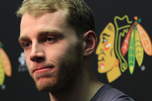 Patrick Kane speaks to the media two days after the Blackhawks were eliminated from the playoffs.