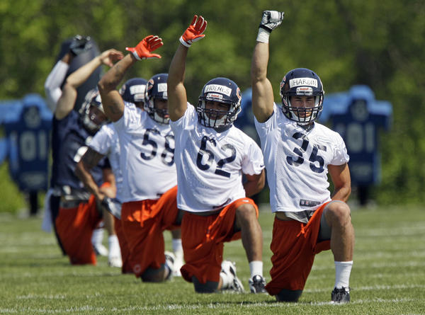 Rookie safety Brandon Hardin (35) at minicamp at Halas Hall.
