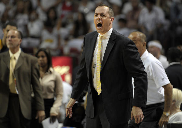 Indiana Pacers Head Coach Frank Vogel reacts to a foul called on his team during the second quarter.
