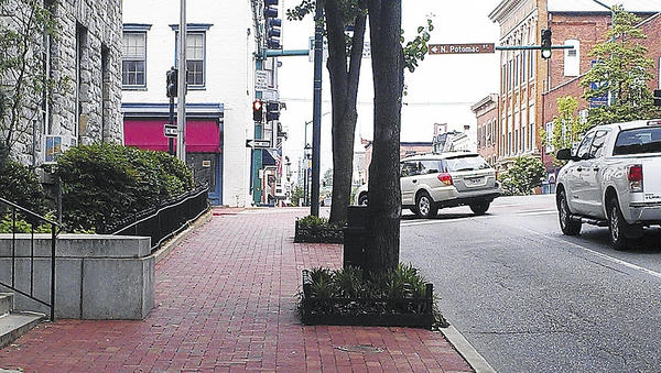 East Franklin Street, near Hagerstown City Hall, has three westbound lanes: two for traffic going straight and the third for traffic turning left onto North Potomac Street.