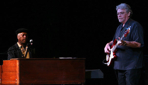 "Booker T. Jones, left, and Donald ""Duck"" Dunn play with Booker T. & the MG's at the Harris Theatre in Chicago on Nov.1, 2008."