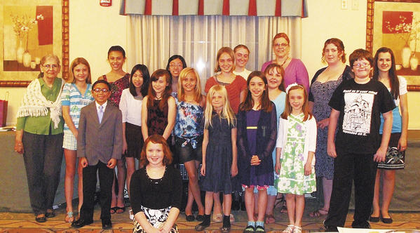 This year's winners include, kneeling, Logan Barrett; and standing, from left, Cheryl Barnes, Peyton Blood, Zach Wandalowski, Quinn Wandalowski, Jade Lee, Mayson Deighton, Joanne Lee, Mackenzie Shank, Sophie Scheck, Samantha Agostini, Krislyn Shank, Kate Prenger, Honor Martin, Kathleen Renee, Hannah Miller, Amanda England, Nathan Retherford and Stephanie Eberly.