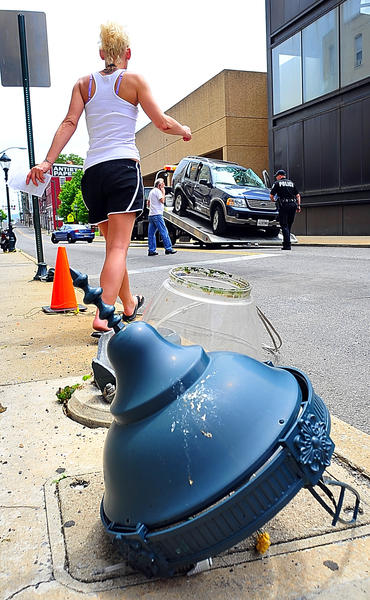 A light pole and three vehicles were damaged in an accident Sunday at Summit Ave. and Antietam St.