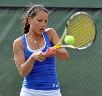 Isabel Ceniza won the No. 1 singles flight title Saturday at the Petoskey Girls Tennis Quad. The Northmen finished in a three-way tie for first with Saginaw Nouvel and Traverse City St. Francis.
