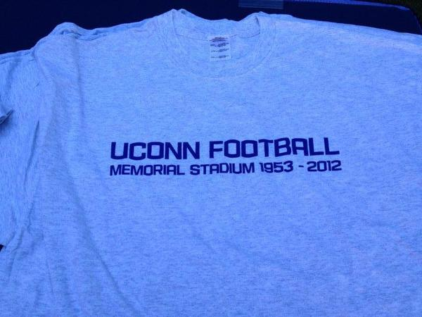 The T-shirt handed out to former UConn football players at a tribute to Memorial Stadium on Saturday in Storrs.