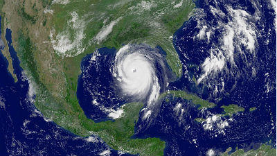 A satellite image of Hurricane Katrina as it approached New Orleans in 2005.
