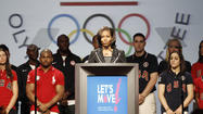 Dallas -- Flanked by more than two dozen U.S. athletes, First Lady Michelle Obama on Monday announced an initiative to expose more than 1.7 million American children to Olympic sports.