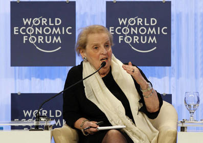 In this Oct. 22, 2011 file photo, former Secretary of State Madeleine Albright speaks southeast of Amman, Jordan.