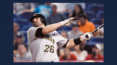Pittsburgh Pirates' Rod Barajas watches the ball after he hit a solo home run during the second inning of a baseball game against the Miami Marlins on Monday in Miami.
