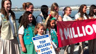 SAN DIEGO — Seven-year-old Anika Krutzik joined more than 3,000 Girl Scouts on the deck of the USS Midway on Saturday to celebrate the send-off of the 2 millionth cookie as part of Operation Thin Mint.