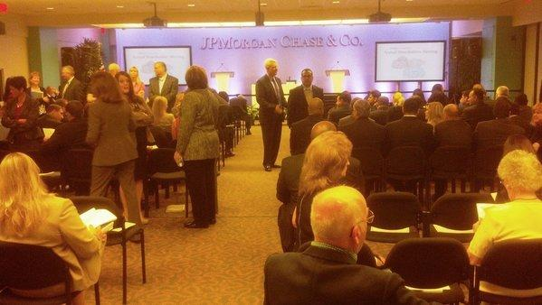 Shareholders begin gathering for the annual JPMorgan meeting