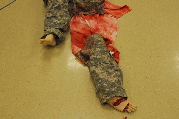 A mannequin at Hartford Hospital as part of a training exercise at the hospital Tuesday. It portrayed a wounded soldier hit by a rocket propelled grenade.