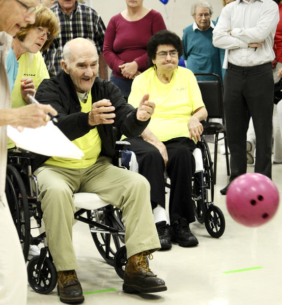 Leon Young competes Tuesday afternoon in bowling in the Golden Age Olympics held at the American Legion in Boonsboro.