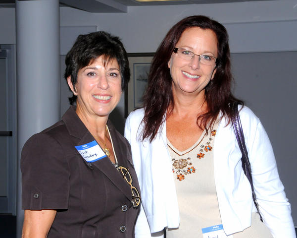Gayle Greenberg, left, and Amy Bernard at the Hanley Resource Center where the Cystic Fibrosis Foundation and St. Mary's Medical Center celebrated the FDA approval of the cystic fibrosis drug Kalydeco.