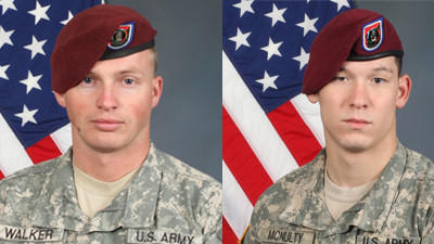 U.S. Army Alaska officials say Sgt. Brian L. Walker, 25 (left), and Pfc. Richard L. McNulty III, 22 (right), died Sunday after their Mine-Resistant Ambush-Protected vehicle with an improvised explosive device in Afghanistan's Khost Province. Both soldiers were military policemen assigned to the 425th Brigade Special Troops Battalion (Airborne), 4th Brigade Combat Team (Airborne), 25th Infantry Division.