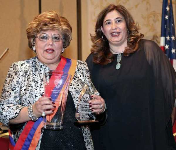 Sona Zinzalian, left, Armenian Relief Society Social Services executive director, and Nyree Derderian, Armenian Relief Society Regional executive chairperson at the Western USA's Gala at the Glendale Hilton Hotel.