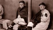 1935: Babe Ruth (left) in the Wrigley dugout