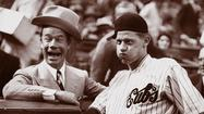 1932: Lon Warneke clowns with comedian Joe E. Brown before Game 4 of the 1932 World Series