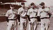 1938: Yankees Red Rolfe, Bill Dickey, Joe DiMaggio and Lou Gehrig