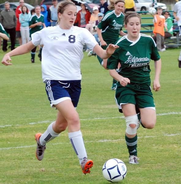 Gabbi Vandenbrink (8) scored three goals Tuesday in leading Petoskey to a 6-0 Big North Conference girls soccer win over Alpena.