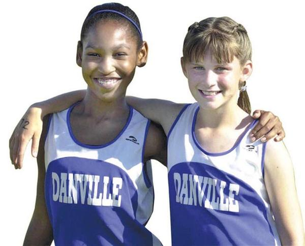 Diamond Pace, left, and Kaitlynn Snapp when they were third-graders on the Danville track team. (file photo)