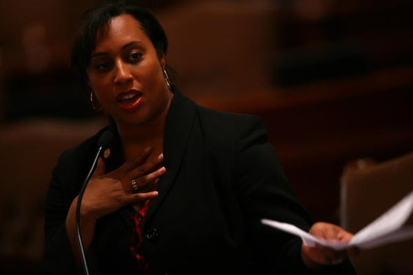Sen. Toi Hutchinson, seen here in December, is sponsoring a strip club tax.