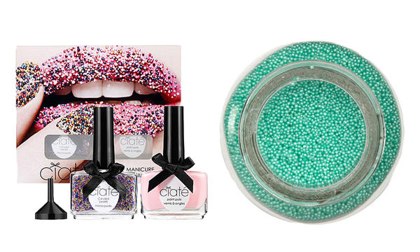 Left: Ciate Caviar Manicure set from Sephora, $25. Right: Martha Stewart Luster Glass Microbeads for a DIY manicure, $4.98 from Fabric.com.