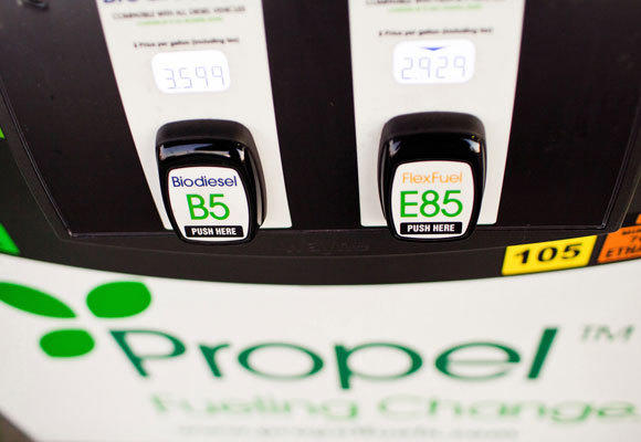 Propel's Clean Mobility Center opens Wednesday in Fullerton, offering a gas-ethanol flex fuel, several types of biodiesel, regular gas, the ability to buy carbon offsets and even a bike repair station. The company plans to build 200 stations in California.