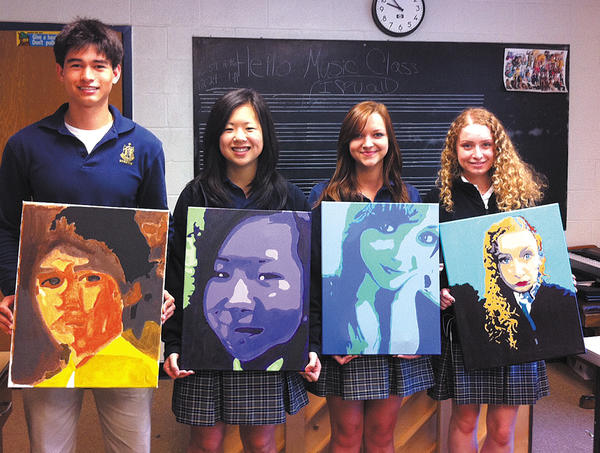 St. Maria Goretti High School art students display their self-portrait paintings. They are, from left, Michael Smith, Morgan Ferguson, Stephanie Baker and Jennifer Smith.