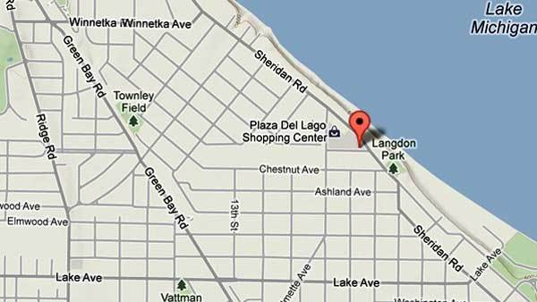 Map of robbery location in Wilmette