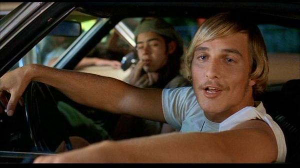 "Matthew McConaughey as iconic character David Wooderson in ""Dazed and Confused."""