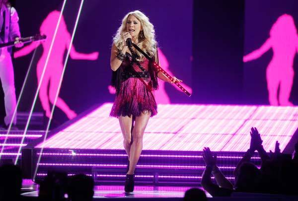 "Carrie Underwood performs ""Good Girl"" at the 47th annual Academy of Country Music Awards in Las Vegas, Nevada."