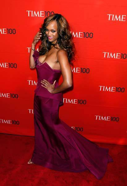 Tyra Banks arrives at the Time 100 Gala in New York.