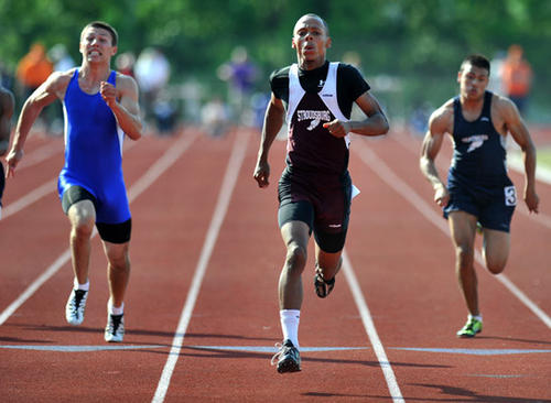 Stroudsburg's Langston Northern competes in the 100 meter dash at the District 11 2A and 3A Track and Field Championships held at Whitehall H.S. on Wednesday.