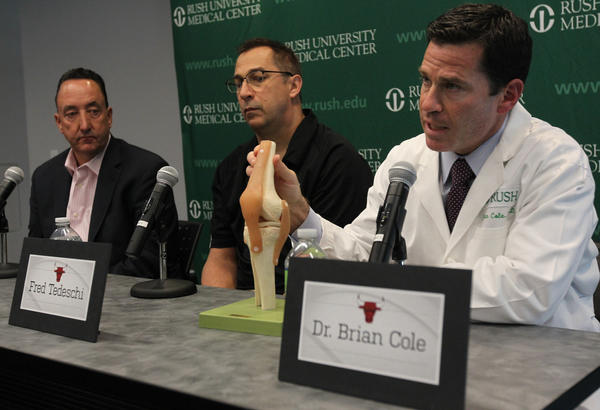 Bulls GM Gar Forman, athletic trainer Fred Tedeschi and team physician and orthopedic surgeon Dr. Brian Cole hold a press conference to provide a post-surgical update on Derrick Rose.
