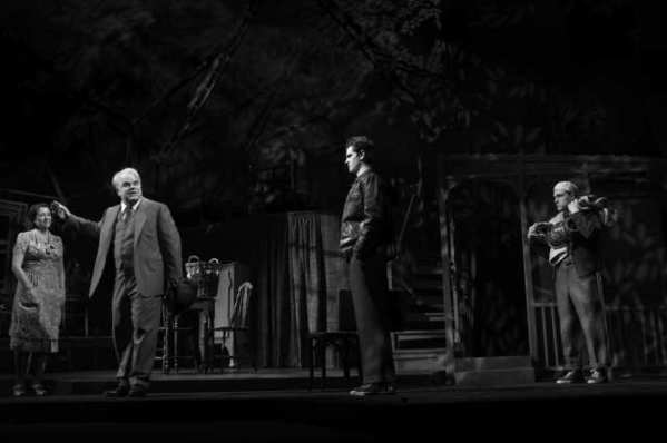 "Linda Emond, Philip Seymour Hoffman, Andrew Garfield and Finn Wittrock in ""Death of a Salesman"" at the Barrymore Theatre in New York."