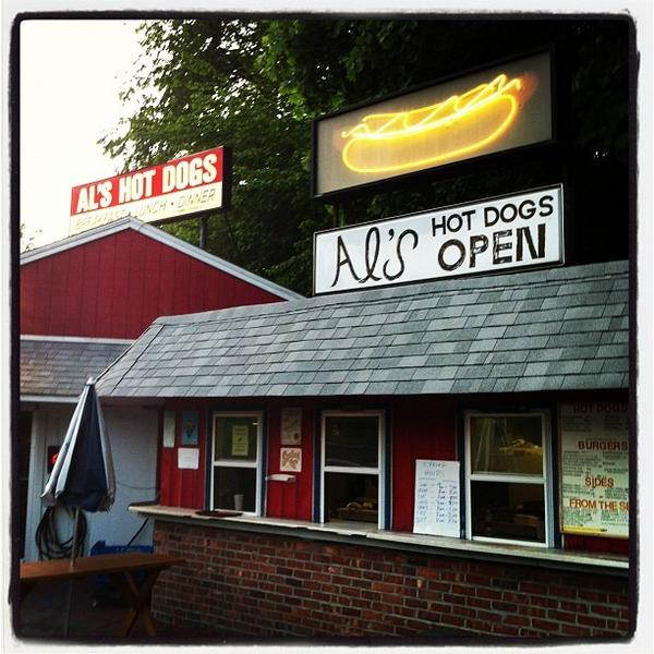 Dinner is served at Al's Hot Dogs in Naugatuck.