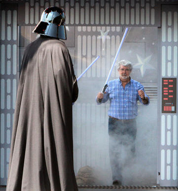 Star Wars creator George Lucas surprises Darth Vader