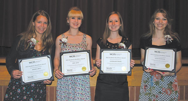 This photo shows four honorees from Wednesday night's Celebration of Excellence at North Hagerstown High School. The students were recognized after remarks from Washington County Board of Education president Wayne Ridenour and Superintendent of Schools Clayton Wilcox. From left, Jessica Mies, Williamsport High; Erin Artz, Williamsport High; Stephanie Swope, South Hagerstown High; and Julia Eckstine, Williamsport High.