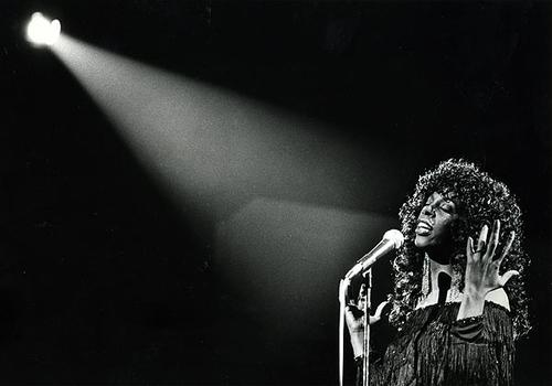 Donna Summer performs at the Universal Amphitheater on July 28, 1983.