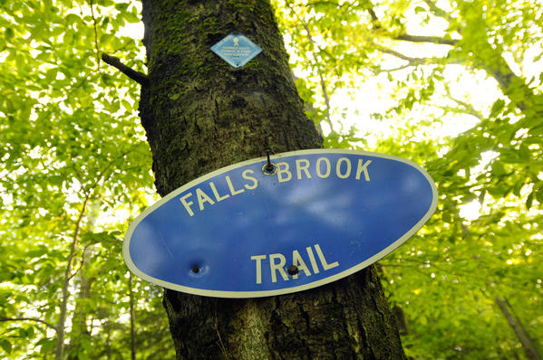 A marker establishes the beginning of the trail, along Route 20 in Hartland.