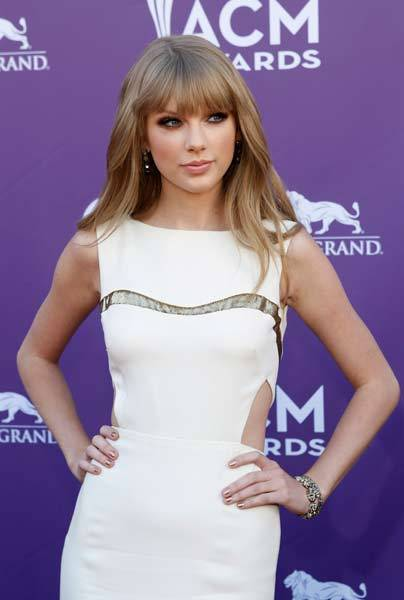 Singer Taylor Swift arrives at the 47th annual Academy of Country Music Awards in Las Vegas.