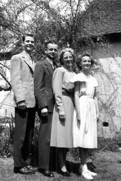 The O'Loughlin family, from left, Tom, Legory, Mildred and Lois at their Idlewood Road home in 1949.
